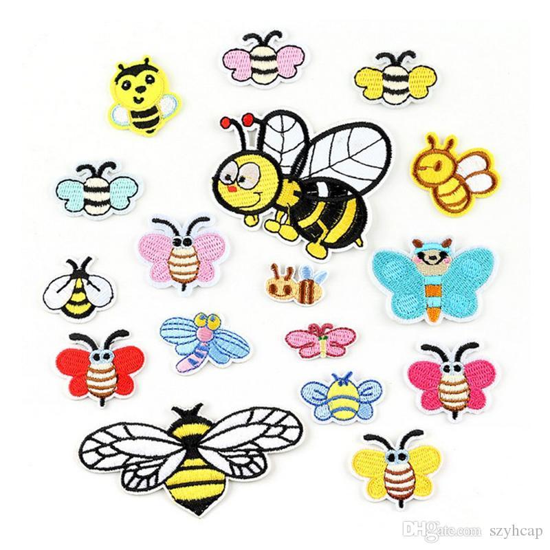 Encantadores parches de bordado de abeja para niños jeans hierro en rayas lindos niños apliques etiquetas engomadas de ropa Insignias