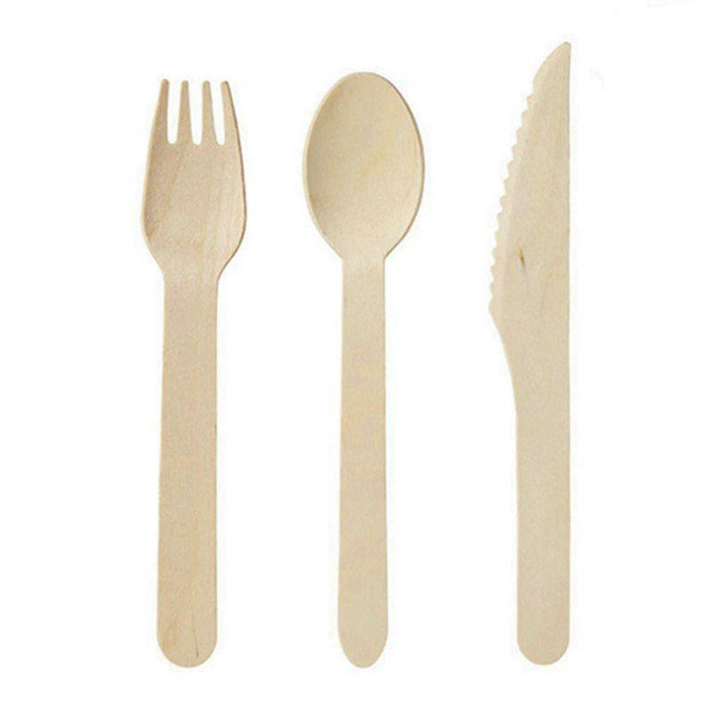 Disposable Wooden Cutlery 300 pack -Forks(100), Knives(100) and Spoons(100), Perfect Alternative For Plastic P215 (300)