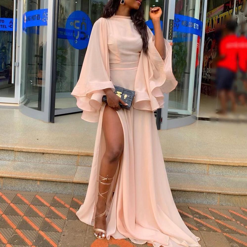 Rosa Malha Side Dividir vestido longo Mulheres elegantes da festa vestido de noite de verão drapeado 2020 Africano Feminino Prom Vestidos