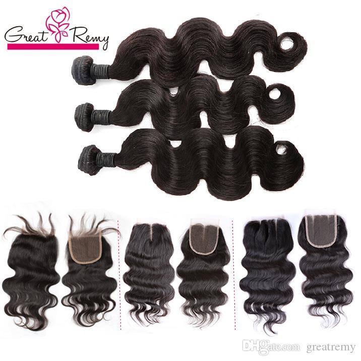 Greatremy® 3 stks Braziliaanse haarbundels met Top Sluiting Gratis 1 st Menselijk Maagd Haar Weave Volledige Hoofd Peruaanse Hair Extensions Weave