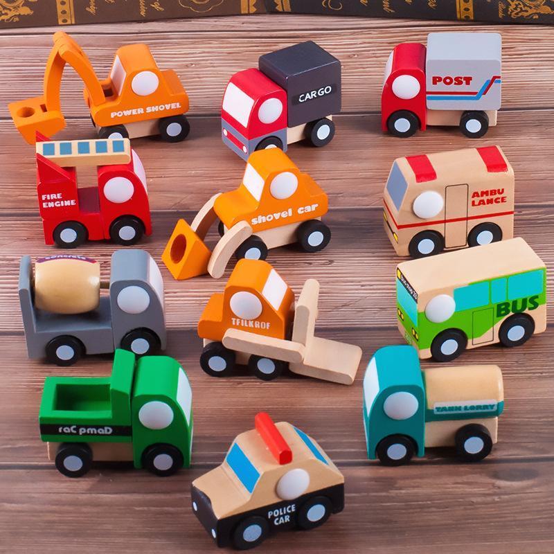 Bois jouet modèle de voiture, Cartoon Avion, Voiture de police, Pompier, Camion Machineshop, pour Kid « Birthday » cadeaux, Collect, Décoration