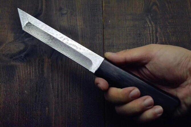 Alta calidad Katana VG10 acero de Damasco Tanto la hoja de ébano mango fijo Blade Knives Con un cuchillo de madera vaina Colección