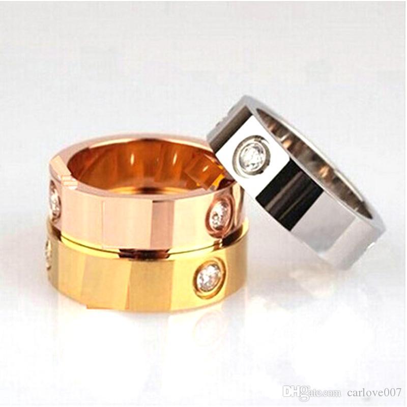 Aço inoxidável 6 MM de largura venda Quente 18 k Anel de Amor de Ouro Para A Mulher Anéis de Jóias Homens Promessa Anéis De Casamento Para As Mulheres do Sexo Feminino Presente de Noivado