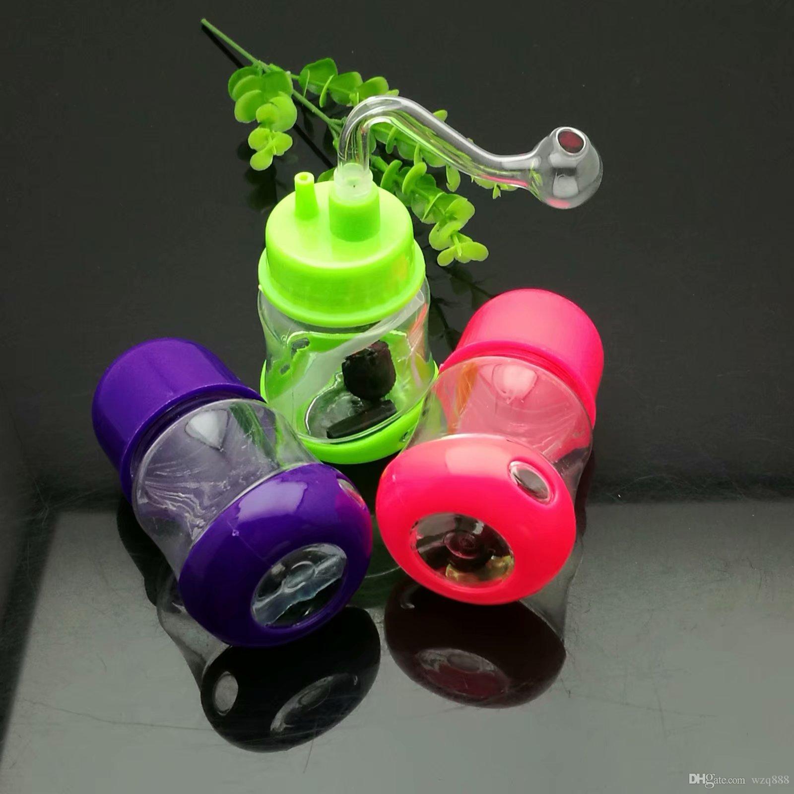 Coloured plastic mini water pipe Glass Bongs Glass Smoking Pipe Water Pipes Oil Rig Glass Bowls Oil Burn