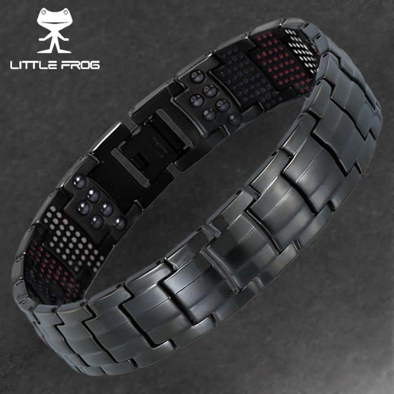 Little Frog 591pcs Germanium Black Titanium Bracelet&bangle Health Magnetic Bracelet Men's Jewelry 10145 Y19051002