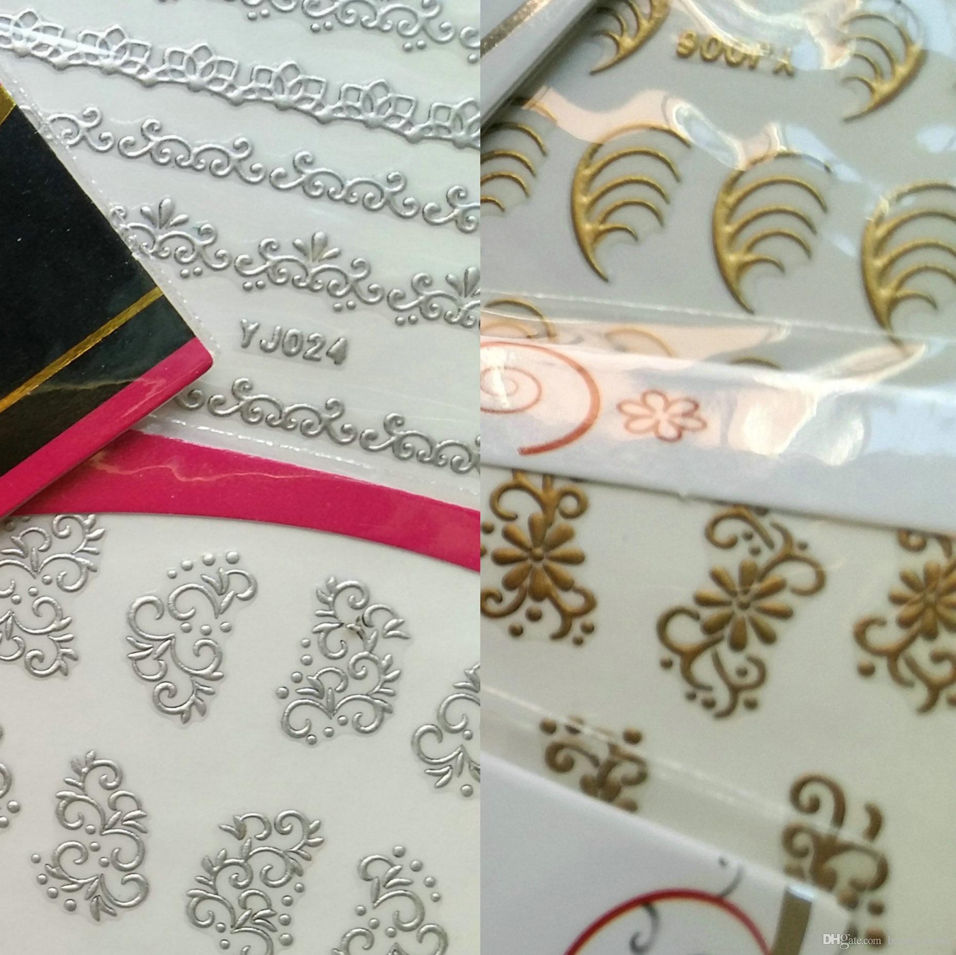 48 stücke * 24x Gold + 24x Silber Metall Metallic Nail Sticker Aufkleber Decals SWIRL FLOWER LACE BUTTERFLY Retro Designs Klebstoff Appliques Tipps DIY
