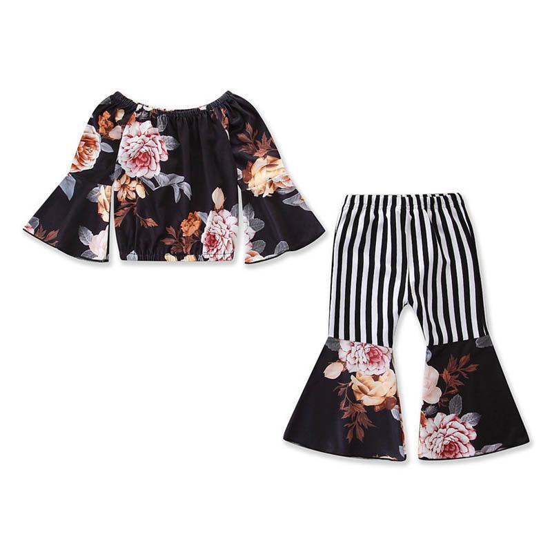 패션 여름 아이들이 여자 아이 의상을 입고 아기 정장 꽃 탑 + 스트라이프 플레어 바지 아이 옷 아이 A4699