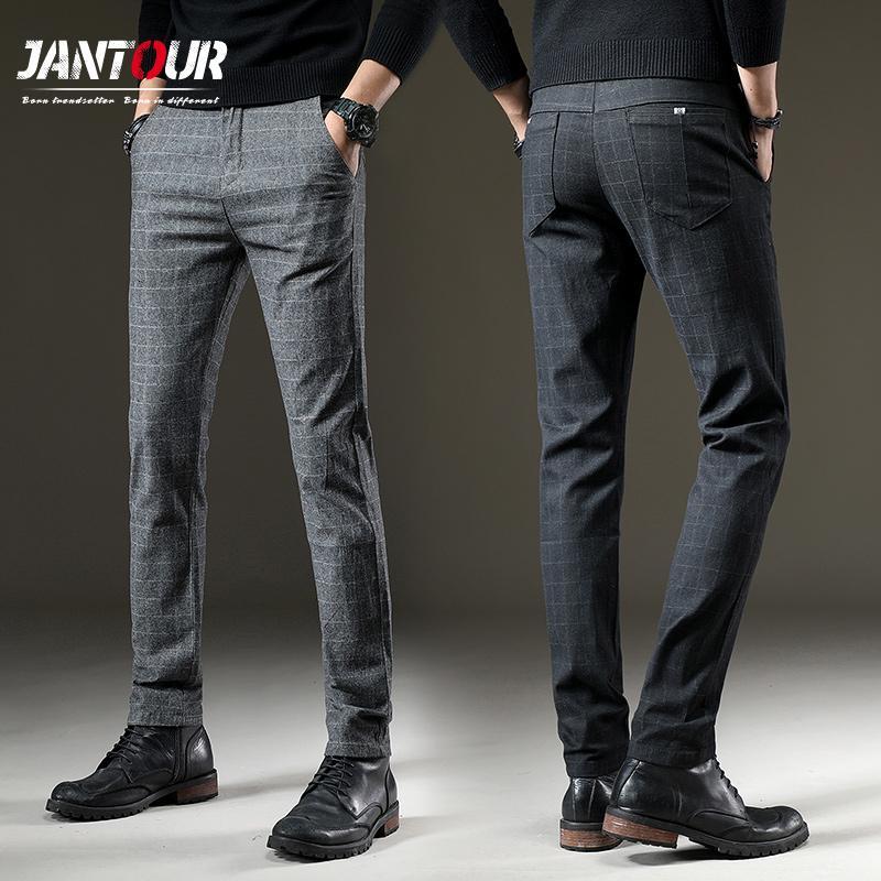 jantour Marque Pantalons Hommes Casual élastique Pantalons Homme Coton treillis droit gris automne hommes Pantalon de travail de grande taille 28-38LY191112