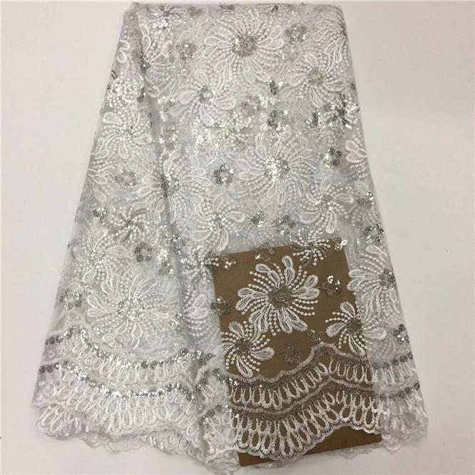 Spedizione gratuita Africa Swiss filato tessuto di pizzo di paillettes bianche di alta qualità moda matrimonio 5 metri tessuti di pizzo francese