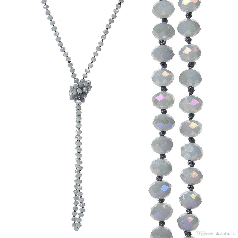 8mm langer Strang geknotete facettierte Glasperlen-Halsketten Sparkly Handmade Multi Layer-Strang-Statement-Halsketten mit Knoten zwischen jeder Perle