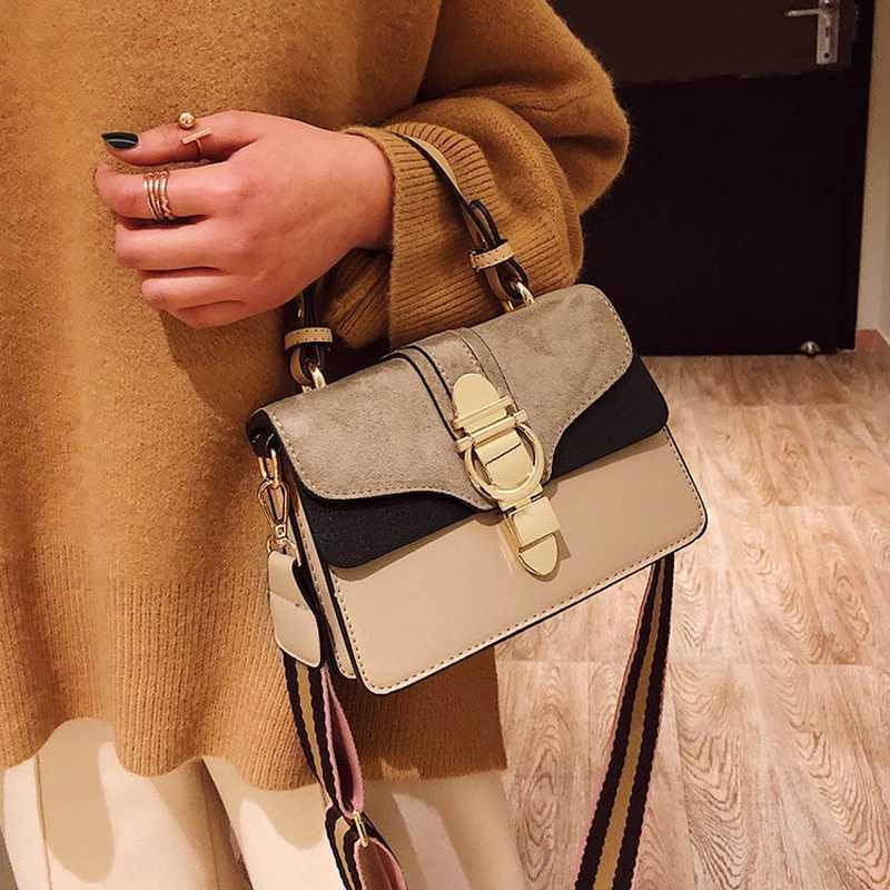 2019 Nuovo pelle da donna borse famoso contrasto Borse a tracolla di colore di modo femminile Crossbody Borse Bolsas