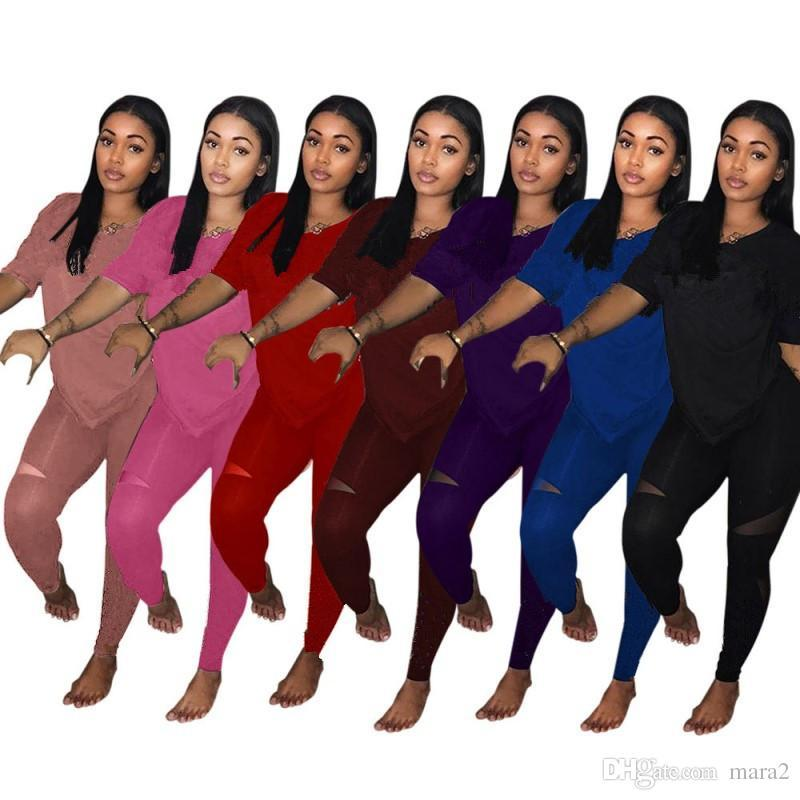 Women's designer two piece brand set outfit pullover crew neck short sleeve t-shirt bodycon leggings pants Sheer summer clothing plus size 9