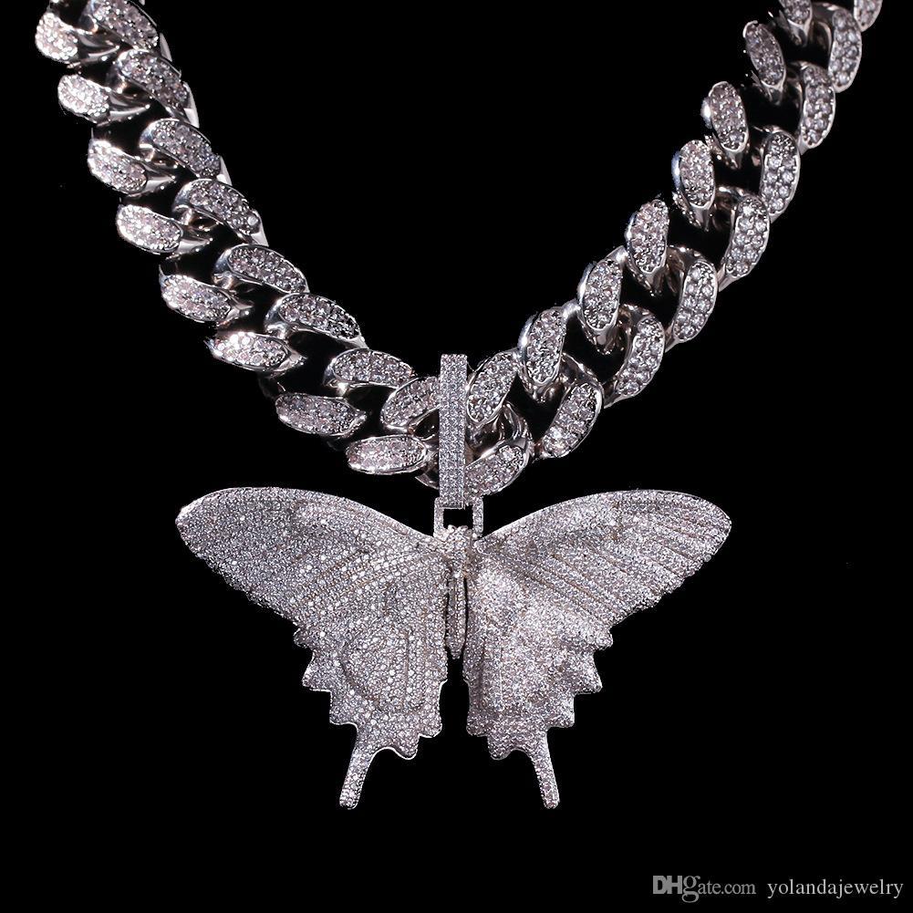 Regalo all'ingrosso di Hotsale di alta qualità fuori ghiacciato animali grande pendente della farfalla oro collana in argento placcato Mens Hip Hop Bling Jewelry