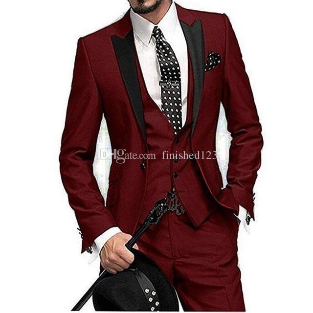 Popular One Button Wine Wedding Groom Tuxedos Peak Lapel Groomsmen Men Formal Prom Suits (Jacket+Pants+Vest+Tie) W205