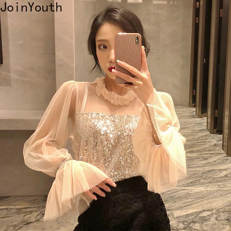 Joinyouth Katı Koreli Zarif Moda Kadınlar Tops ve Bluzlar Flare Kol Vintage Gömlek 2020 İlkbahar Tatlı payetli blusas J442