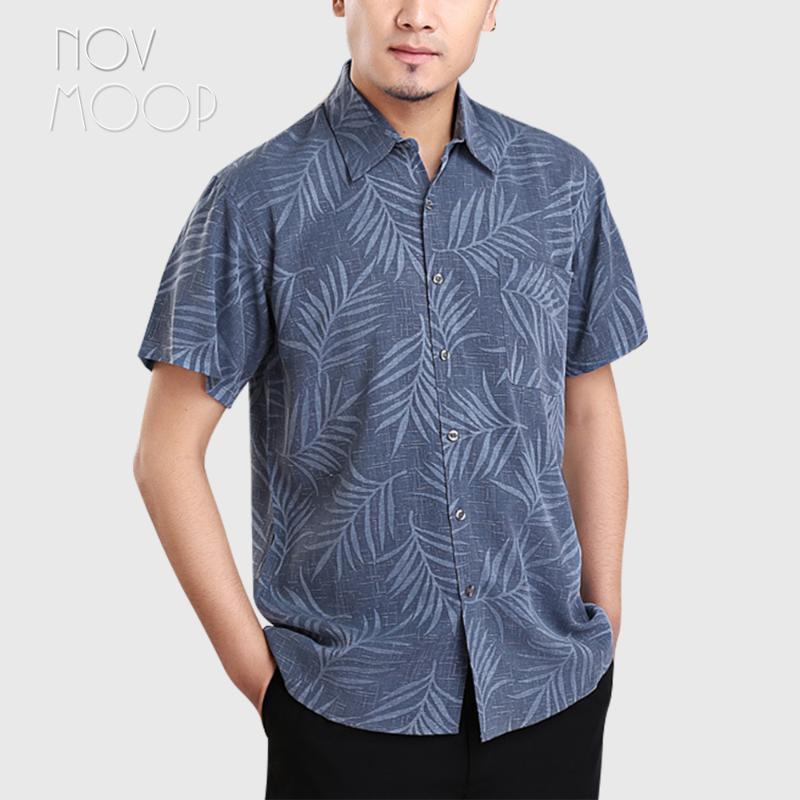Novmoop Summer smart casual style short sleeve red grey blue color 100% pure silk shirt for men camisas para hombre LT3157