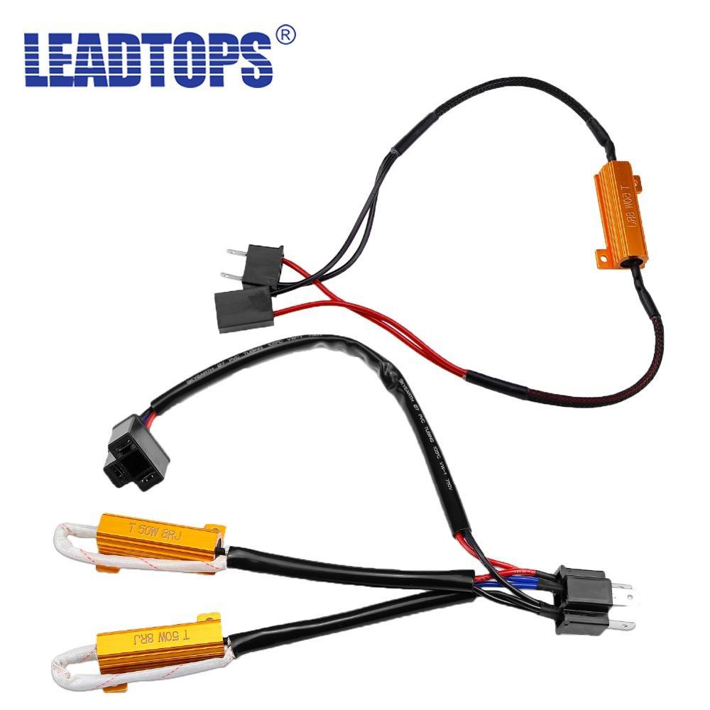 LEADTOPS 2pcs H4 H7 LED Decoder resistor de carga Para H8 H9 H11 9005 9006 Erro luzes do carro Rádio 50W 8RJ aviso piscante Lifted BJ