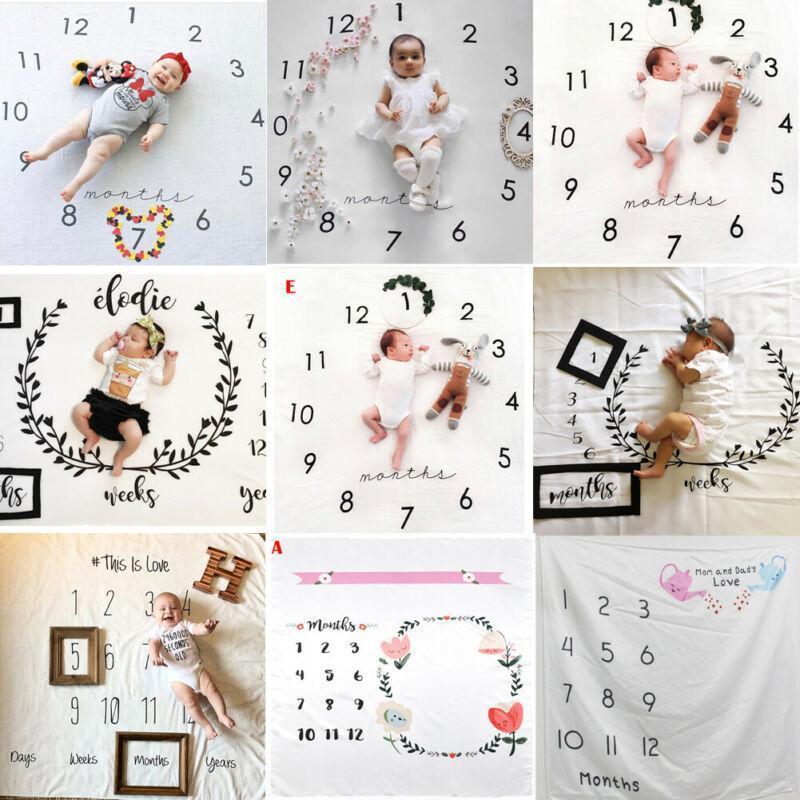 2019 Детские постельные принадлежности Одежда для новорожденных младенцев Месячный рост Milestone Одеяло Фото Опора Фон Тканевый