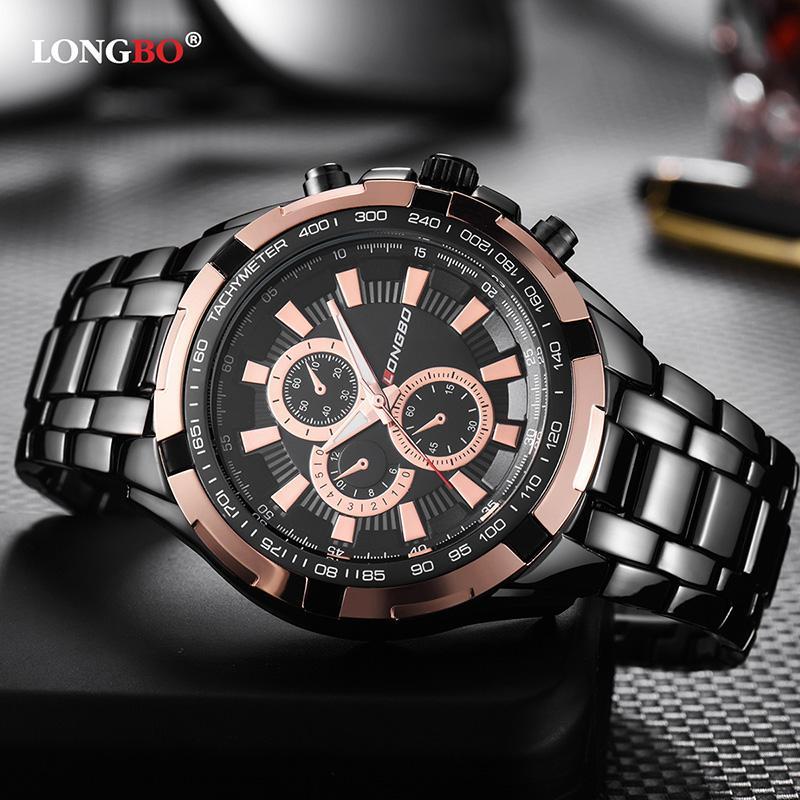 Longbo hombres relojes de cuarzo de moda de acero inoxidable banda del hombre de negocios reloj deportivo masculino de pulsera Reloj Masculino Hombre 80385