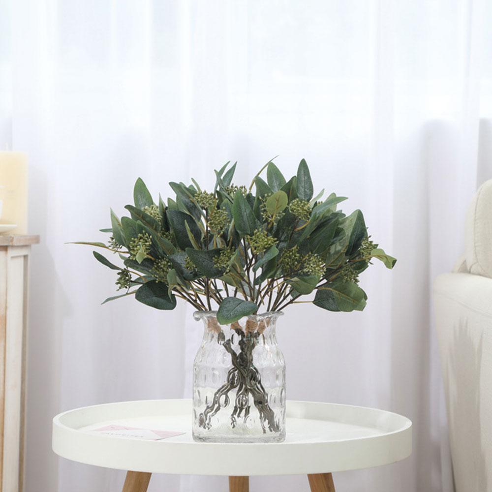 Simulation Vert Ovale Eucalyptus avec Fruit Fourche Herbe Plante Artificielle Fleur Tenture Suspendante Maison Boutique De Mariage Décoration