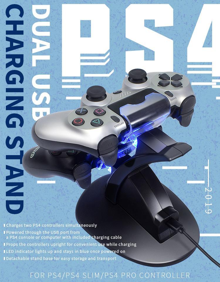DATI FROG due porte USB Charger stazione per Sony Playstation PS4 regolatore di carica del basamento per la PS4 Pro / Wireless Gamepad Slim
