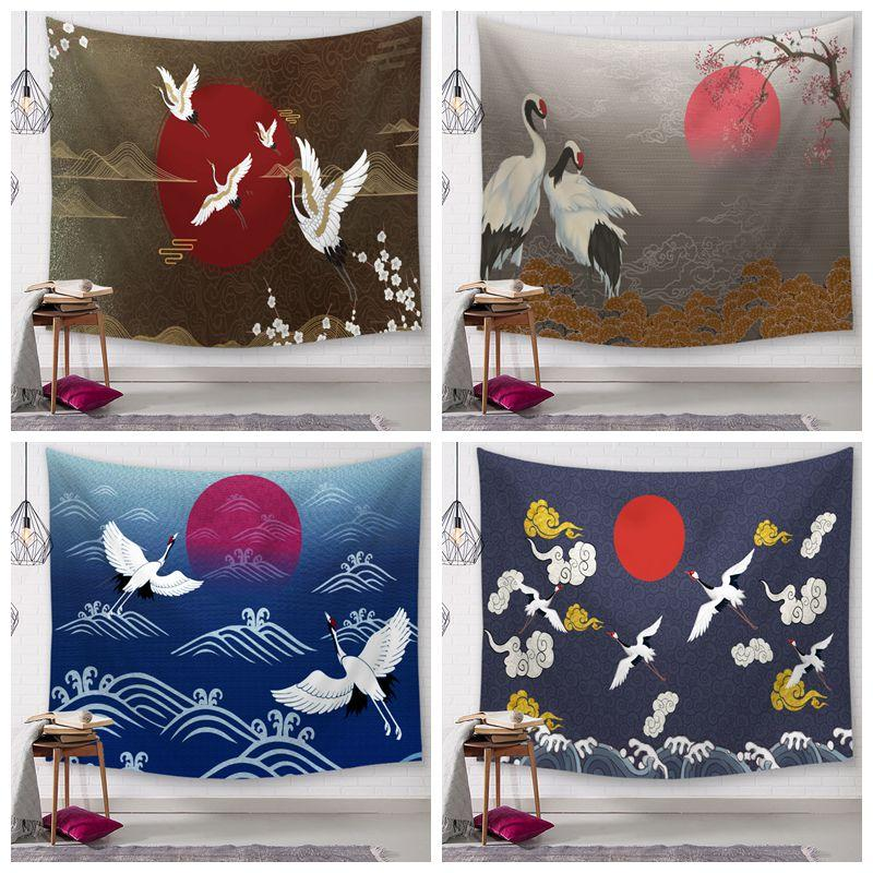 japanese crane tapestry sun sea wave wall hanging decoration tapiz ethnic decor living room tenture mural