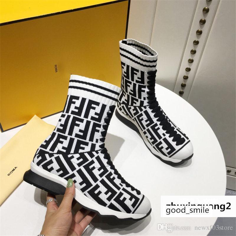 Rockoko Hi-top listrado Pense Sock Runner puxe Botas Moda Sneakers Com Box