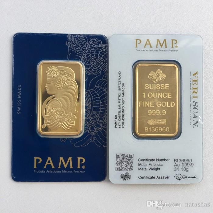 Hot 1 oz Gold Bar PAMP Suisse Lady Fortuna Veriscan High Quality Gold Plated Bar Business Gifts Metal Crafts Home Decorati