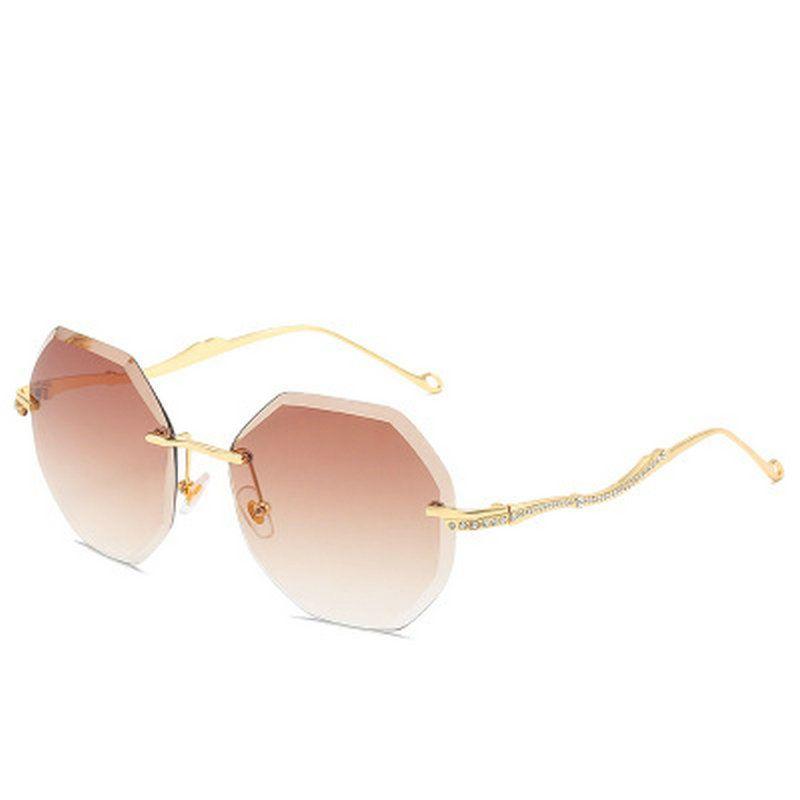 Sin marco Gafas de sol para mujer sin marco gafas de sol del océano de flores de lentes de protección solar Gafas de sol de lujo de moda de verano UV400 NmOfT la vendimia