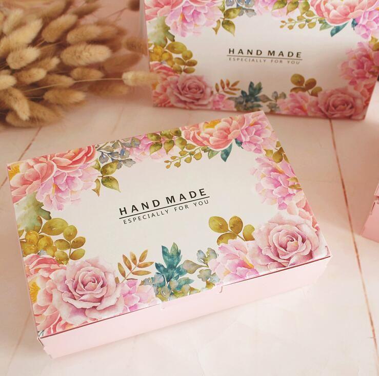 20 قطع الساخن زهرة المطبوعة الوردي هدية ورقة مربع اليدوية القمر كعكة مربع الشوكولاته تغليف معكرون هدية صناديق 21.6x13.5x5 سنتيمتر