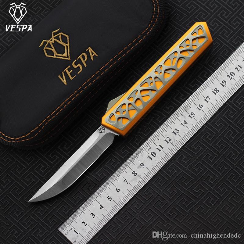 VESPA 다크 스타 고품질 접는 나이프 블레이드 : M390 (새틴) 핸들 : 7075 알루미늄 + TC4, 야외 캠핑 생존 나이프 EDC 도구