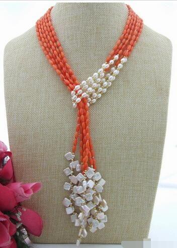 Atado mão 3strands naturais 6-8mm 127 centímetros branco Keshi pérolas de água doce de arroz vermelho rosa colar de coral