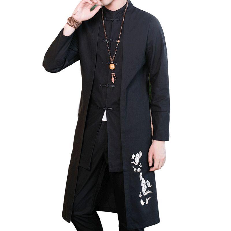 # 4008 مستقيم القطن الكتان خندق معطف الرجال زائد حجم اليوسفي طوق التطريز خمر النمط الصيني الملابس كاذبة اثنان قطعة