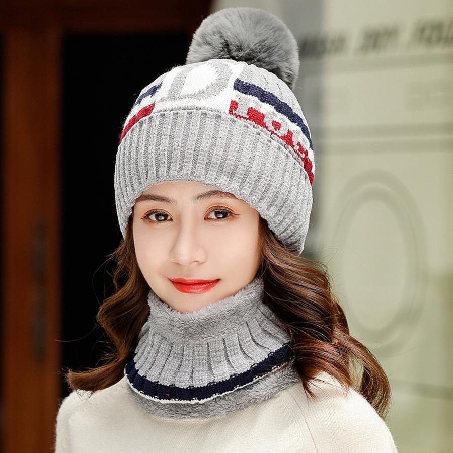 Marca Nueva carta de tejer sombreros de las mujeres de terciopelo grueso Beanie sombrero Skullies babero Traje Femenino ciclo al aire libre a prueba de viento del capo de sombreros de lana