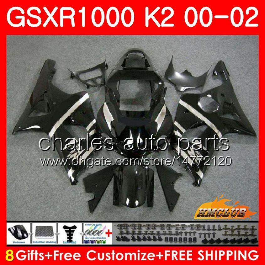 Frame voor Suzuki GSX-R1000 GSXR1000 K2 Black Light NIEUWE GSX R1000 00 02 BODYS KIT 14HC.4 GSXR-1000 GSXR 1000 00 01 02 2000 2001 2002 Kuip