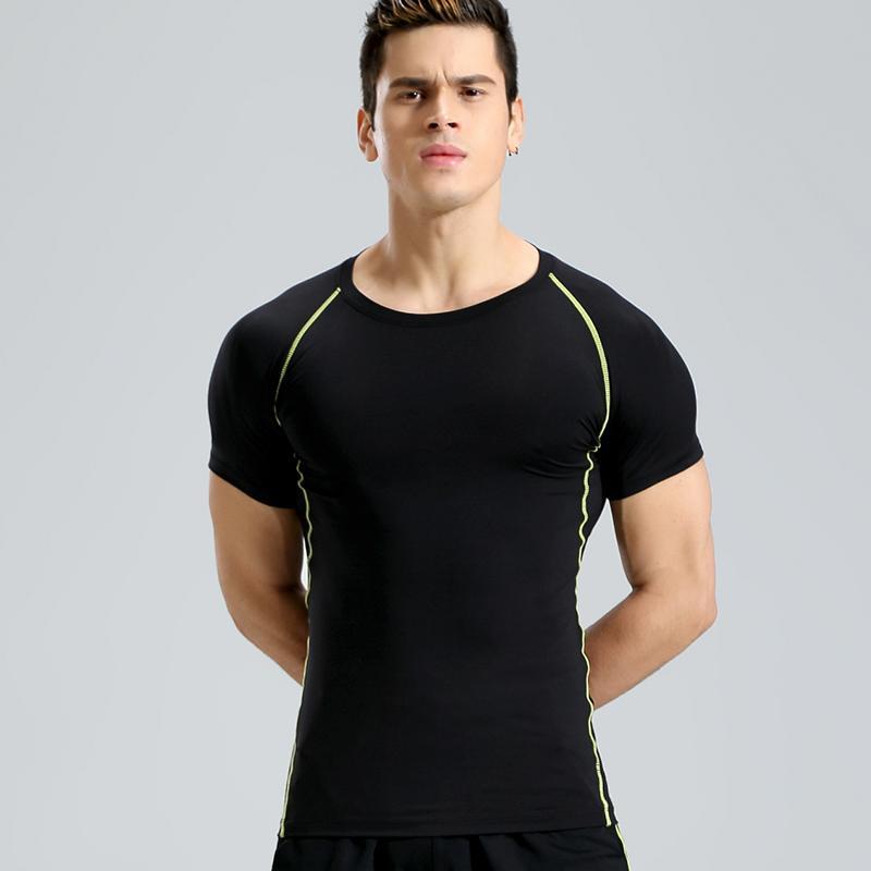 اللياقة البدنية كم قصير القميص الرياضة قميص الرجال جفاف سريع للرجال الجري T قميص رياضة الملابس ذكر رياضية ضيق ملابس الرياضة في الهواء الطلق
