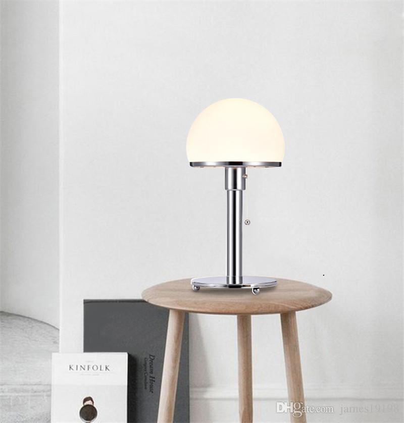 Lámpara de mesa de metal de cristal del hemisferio blanco de cromo nórdico de la lámpara de escritorio de la lectura de la cama de la cama de la cama de la lámpara de la noche