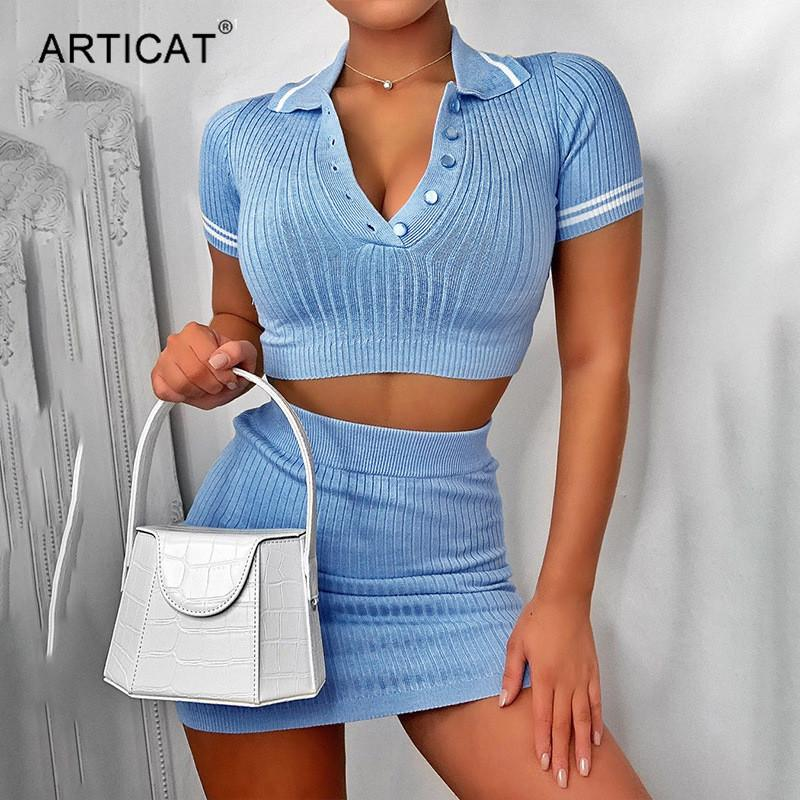 Articat Two Piece Set Knitted Summer Dress Women Short Sleeve Cropped Bodycon Mini Dress Elastic Casual High Waist Party