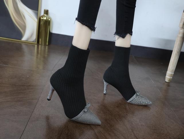 Autunno 2019 nuovi appuntiti alti stivali tratto tacchi alti erano i calzini sottili selvaggio alta boots2