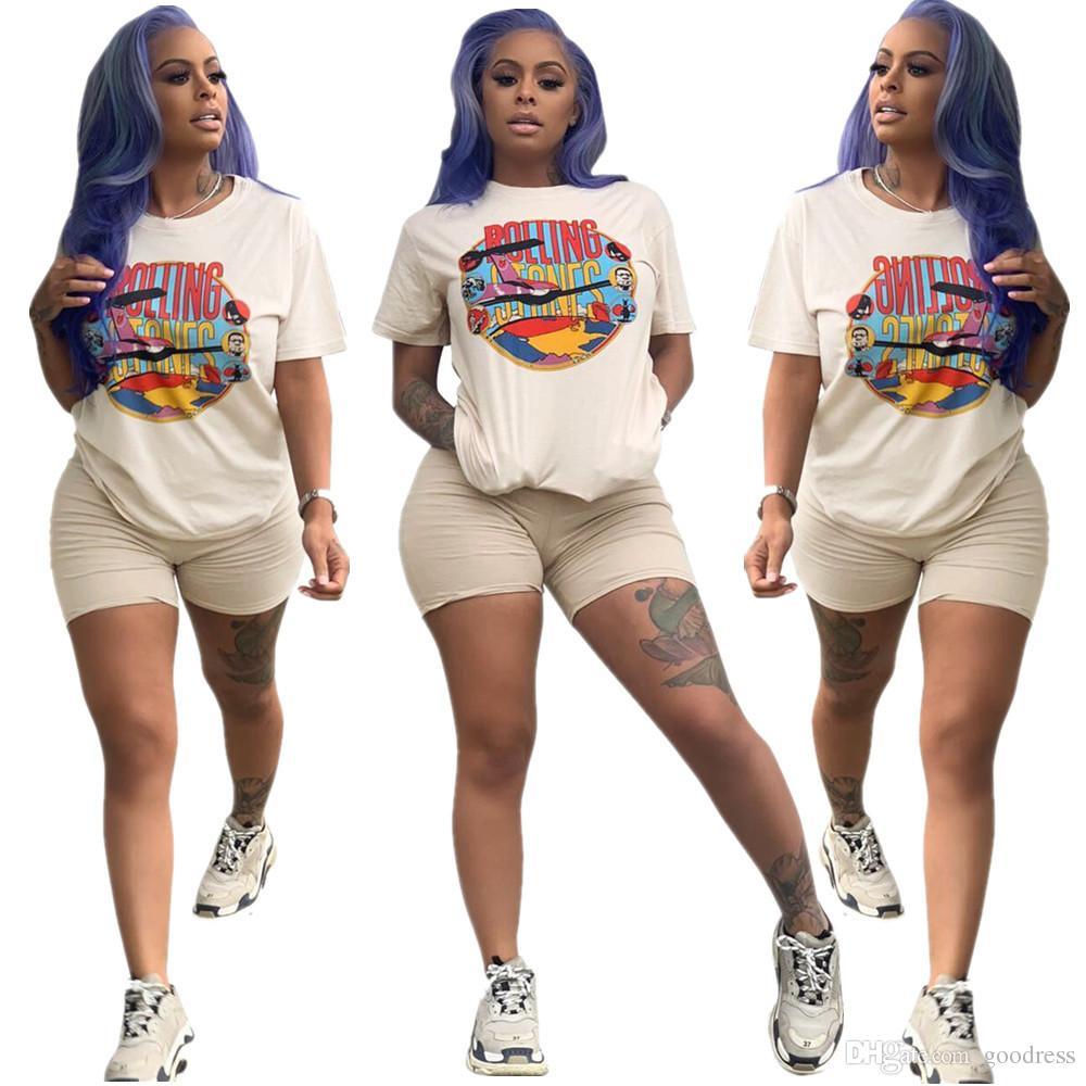 Femmes Lettre imprimer Survêtement T-shirt À Manches Courtes + Shorts Leggings 2 pièce Costume De Mode D'été Tenue Sportswear Run Set