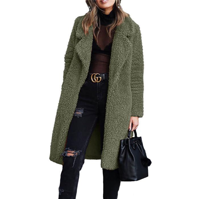 Peluche di inverno risvolto collo donne cappotto lungo modo del cardigan cappotti di lana casuale solido donne della tuta sportiva di colore