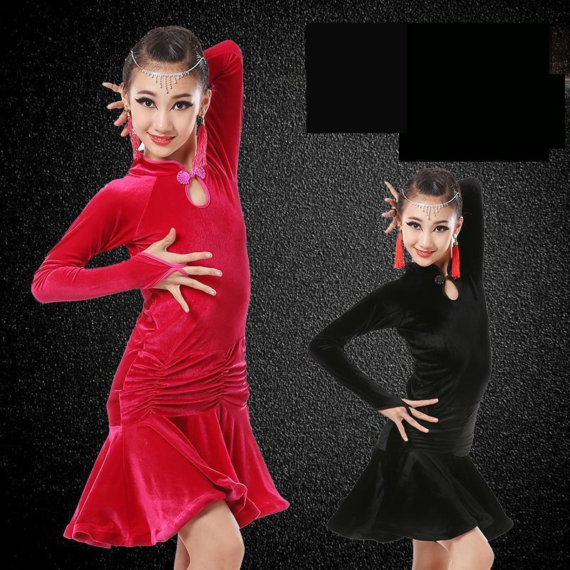 Latin Cha Cha Salsa Ballroom Dance Long Training Skirt Rumba Samba Dress