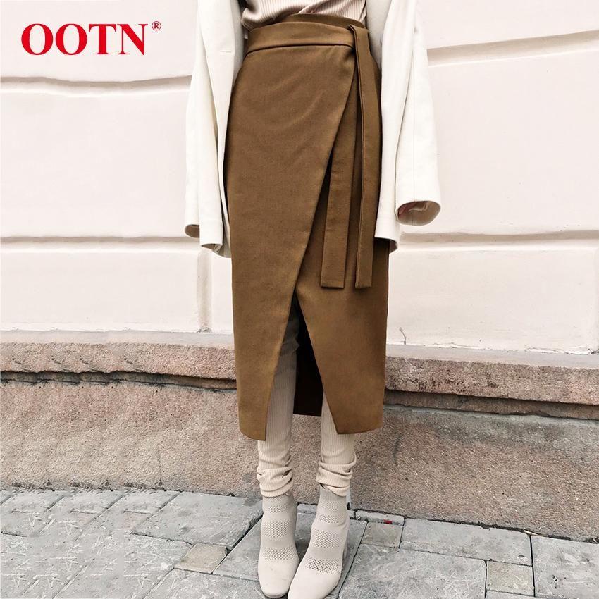 Sexy Vintage Brown Asymétrie jupe portefeuille Automne Hiver Suede Midi jupes taille Femmes Jupe longue Bureau Kaki Mode