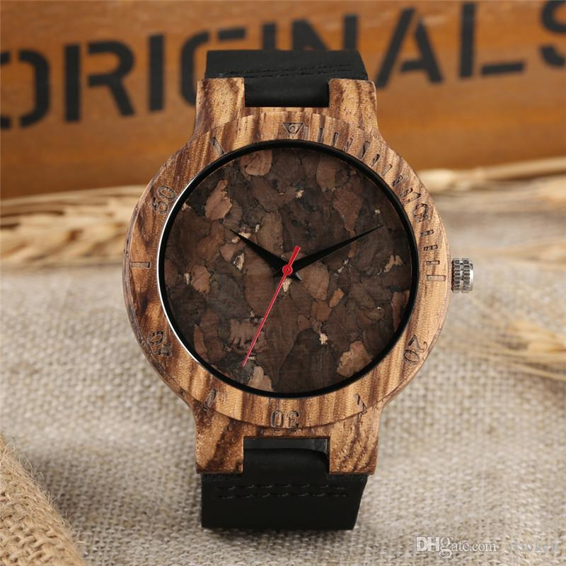 Retro Natural Wood-Uhr-Männer Uhr Einzigartige Gebrochene Blätter Gesicht Licht Bambus-Holz-Quarz-Armbanduhr-Mann-Stunden-reloj para hombre