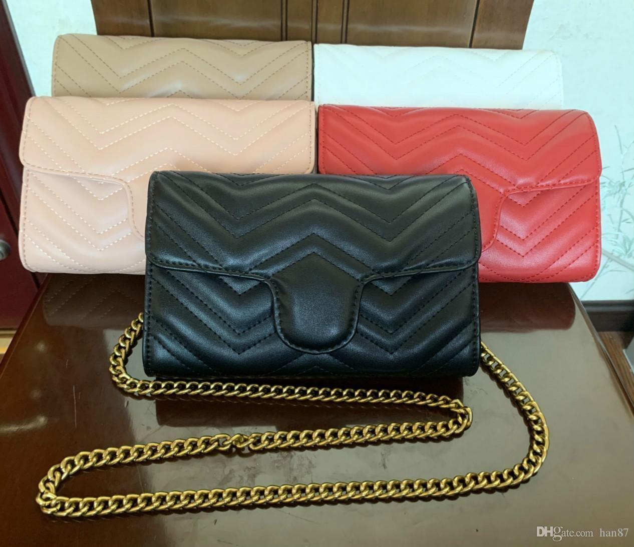 Vente chaude sacs à main mode Vintage Femmes Designer Sacs à main Portefeuilles pour femmes chaîne en cuir Sac à bandoulière et sacs à bandoulière 19cm