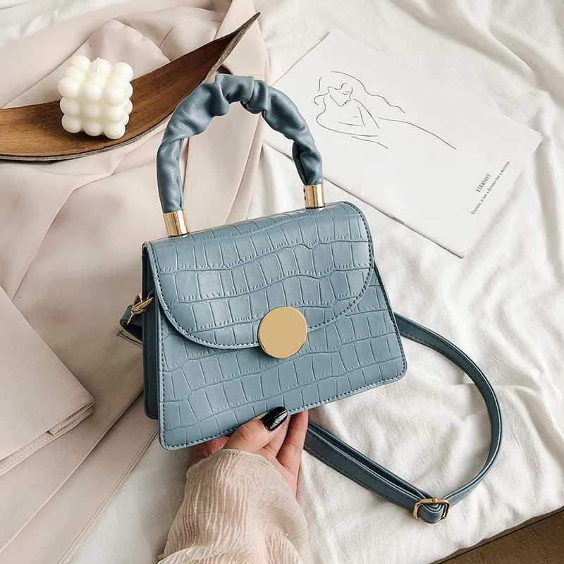 Muster Leder Crossbody Taschen für Frauen Griff Mode 2020 kleine Handtaschen Umhängetasche mit Farben Solide Geldbörsen Weibliche und neue MLJWX