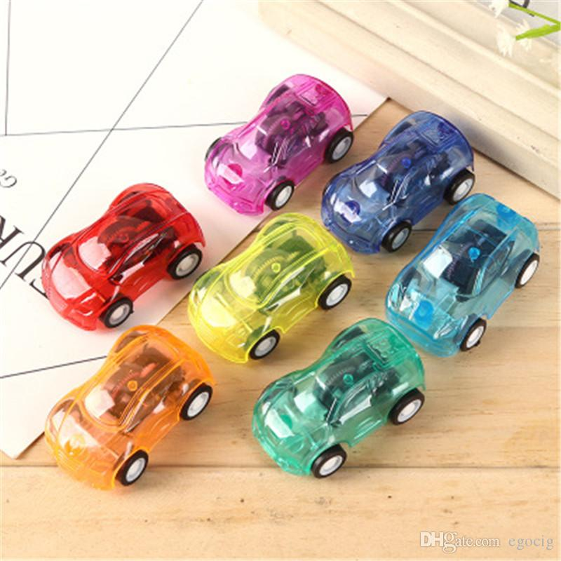 Mini Children toys Pull back car Transparent racing toy candy color back racing Plastic Pull Back Car Filler Cute Car Toys free shipping