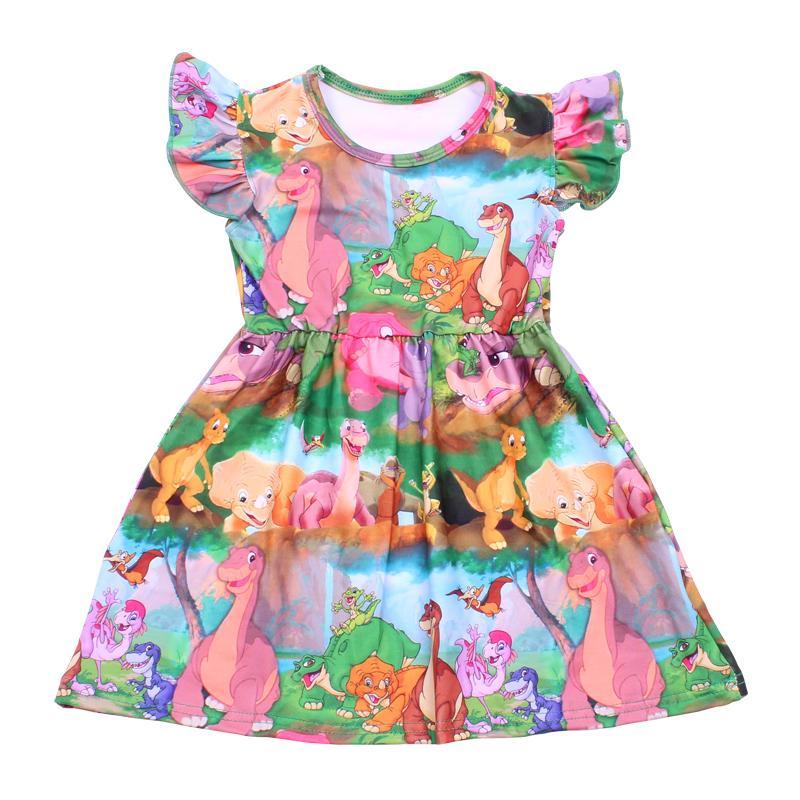 Новые поступления ребёнки лето Красочный Динозавр печати платье Milksilk Dinosaur World с коротким рукавом Одежда Детская одежда Бутик