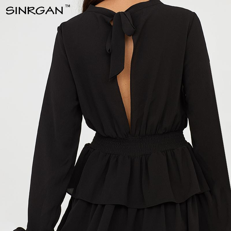 SINRGAN Solido Nero Backless Mini partito delle donne di A-Line vita alta girocollo Ruffle vestito casuale Papillon Vestidos elegante MX200508