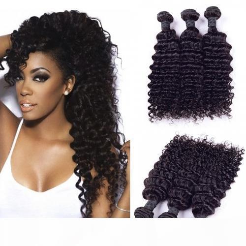 Indiano onda profunda onda de 100% não transformados Humanos virgem tecem cabelo 8A Qualidade Remy Cabelo Humano Extensões Humano Tece cabelo Dyeable 3 pacotes